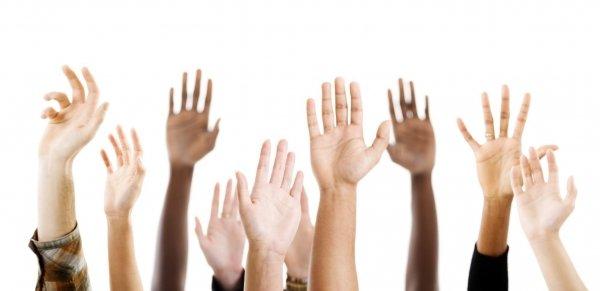 raised hands